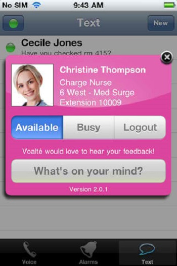 Voalte One + apps for nurses