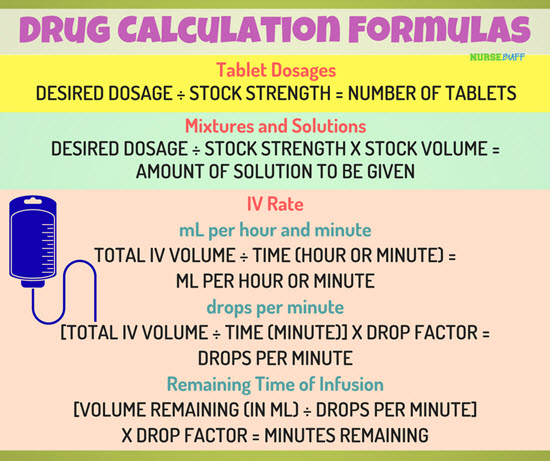 drug calculation formulas