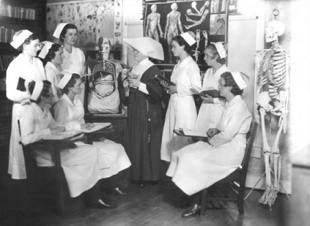 Anatomy class for nursing students at Lourdes Hospital, 1934.