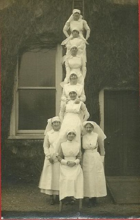 Nurses up a ladder!
