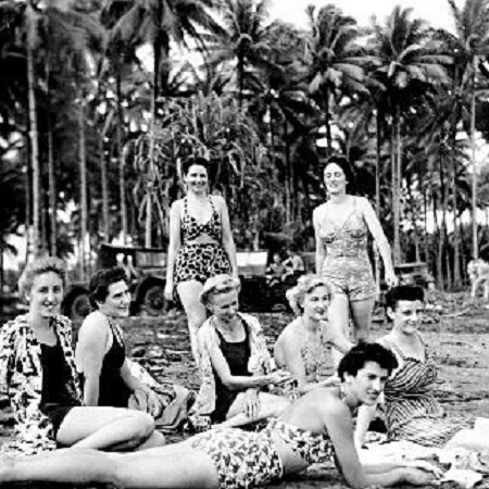 Sunbathing nurses stationed in the Pacific, 1940's.