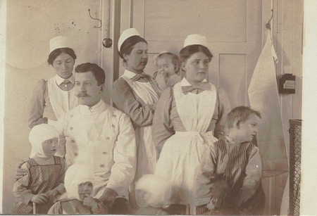 Vintage nurses and their young patients.