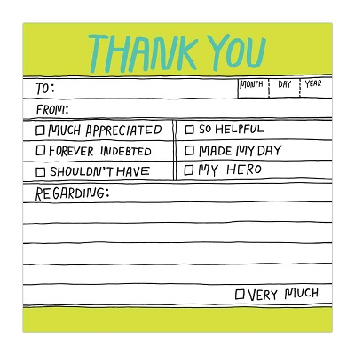 Knock Knock Thank You Hand-Lettered Sticky Note