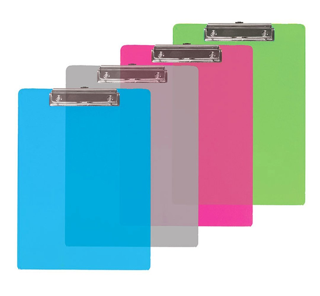 Transparent Multi Color Low Profile Clipboard Set