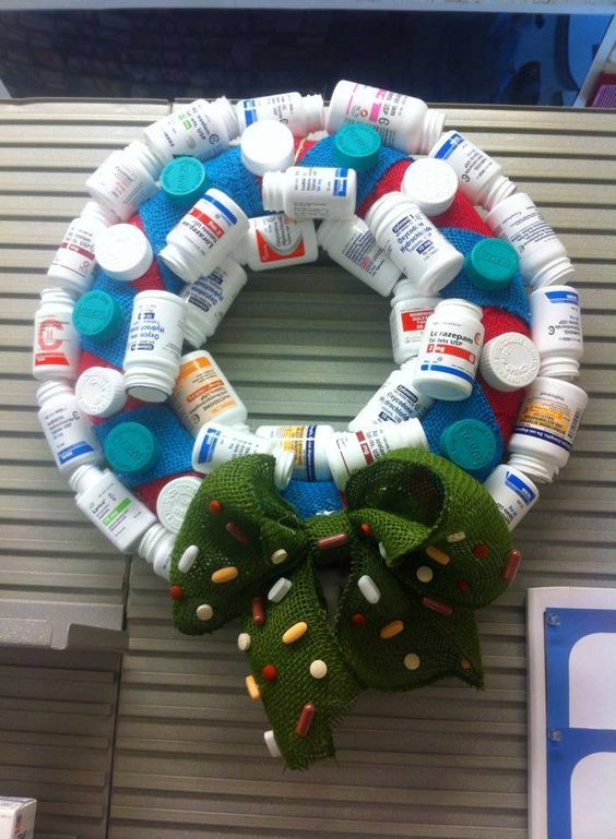 medicine bottles christmas wreath