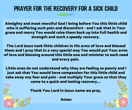 prayer for recovery of sick child