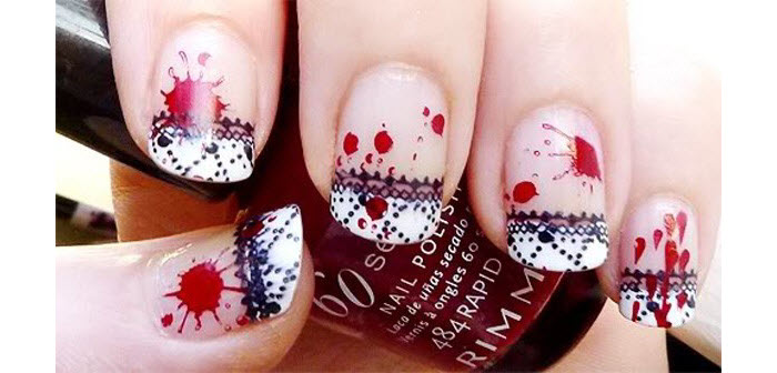 Blood-Splatter-On-Lace-Nails