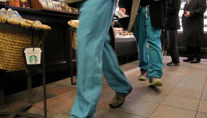 wearing scrub suits in coffee shops