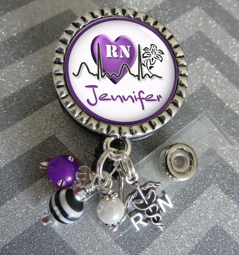 personalized rn badge reel