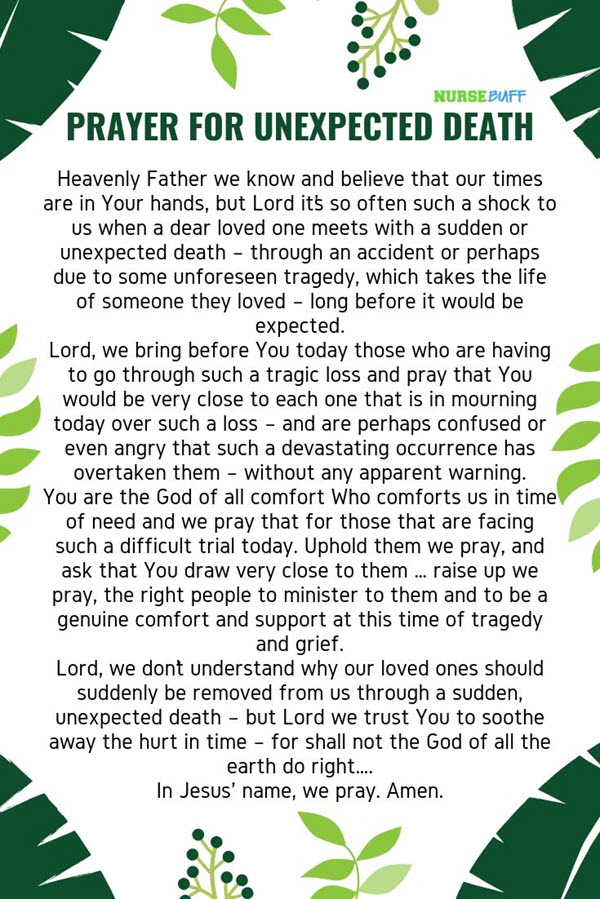 prayer for unexpected death