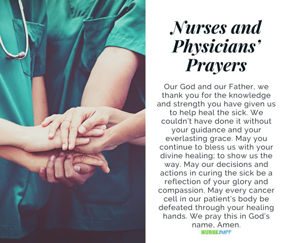 nurses and phisyicians prayers for cancer patients