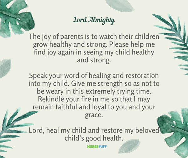 prayer for healing and restoration of a sick child