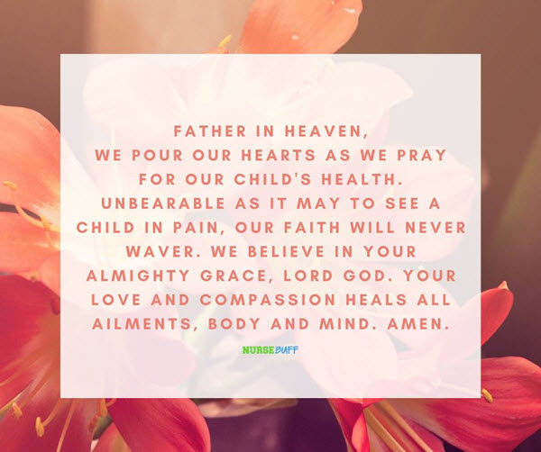 prayer for health of a sick child