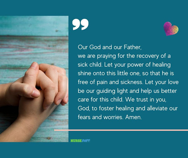 prayer for recovery of a sick child